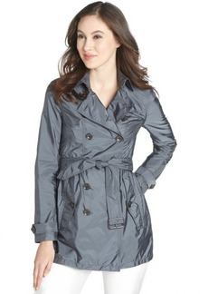 Burberry steel blue 'Dorsleigh' pleated waist belted trench