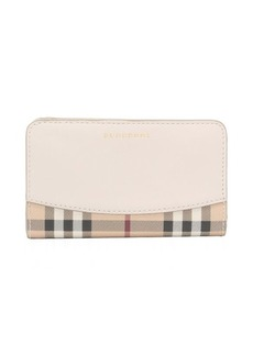 Burberry stone leather and coated canvas flap front wallet