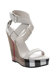 Burberry stone leather and nova check canvas 'Goldfinch' wedge sandals