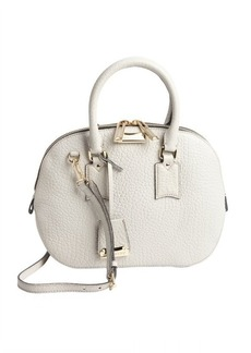 Burberry stone white leather top handle bag