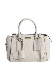Burberry stone white pebbled leather convertible small 'Gladstone' bag