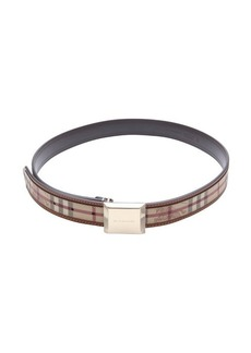 Burberry tan and beige haymarket check coated canvas 'Henley' belt