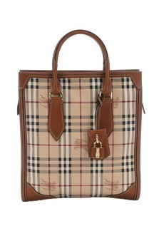 Burberry tan coated canvas medium 'Haymarket Classic Honeywood' tote