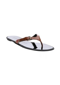 Burberry tan leather and canvas 'Masie' thong flip flop sandals