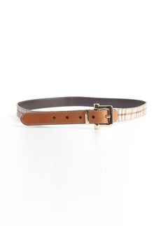 Burberry tan leather nova check canvas classic belt