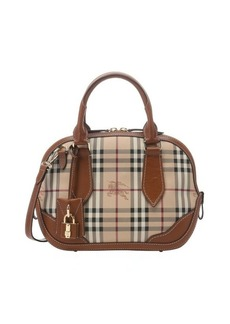 Burberry tan leather trimmed check canvas 'Orchard' small bowling bag