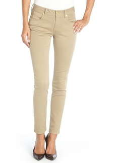 Burberry tan stretch cotton skinny ankle zip pants