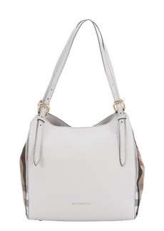 Burberry white leather and brown nova check canvas 'Canterbury' small shoulder bag
