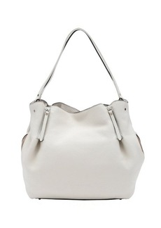 Burberry white leather and check canvas medium 'Maidstone' tote