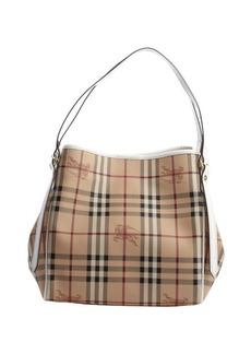Burberry white trimmed nova check canvas shoulder bag