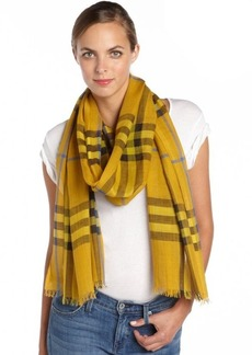 Burberry yellow and black silk blend striped accent scarf