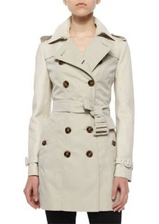 Bythan Python-Trimmed Double-Breasted Trenchcoat   Bythan Python-Trimmed Double-Breasted Trenchcoat