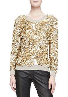Cashmere-Blend Crushed Sequin Sweater, Honey Melange   Cashmere-Blend Crushed Sequin Sweater, Honey Melange