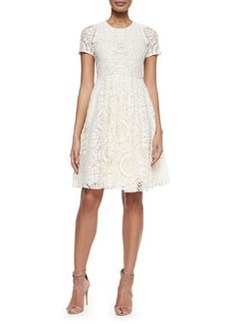 Short-Sleeve Dress with Lace Overlay   Short-Sleeve Dress with Lace Overlay