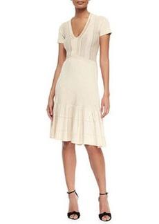 V-Neck Knit Flounce Dress, Parchment   V-Neck Knit Flounce Dress, Parchment