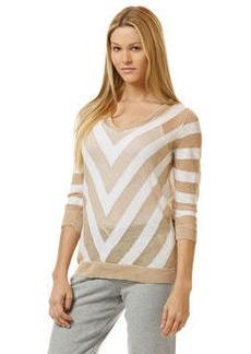 ¾ sleeve chevron sweater