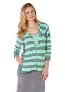 bold stripe tri blend hi-lo zip hoodie