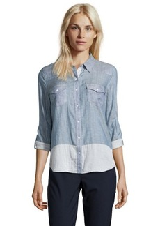 C & C California blue cotton blend chambray point collar button front shirt