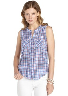 C & C California blue multi-color stretch cotton 'Oceanside' sleeveless plaid shirt