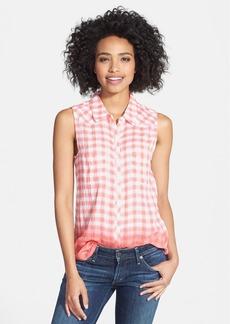 C & C California Dip Dye Plaid Sleeveless Shirt