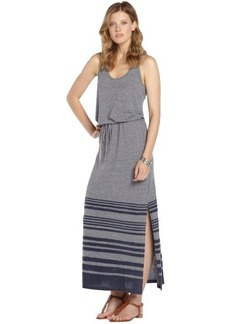 C & C California heather grey and navy stretch cotton blend striped sleeveless dress