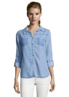 C & C California indigo chambray shadow pocket button front shirt