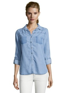 C & C California indigo chambray shadow pocket button front shirt