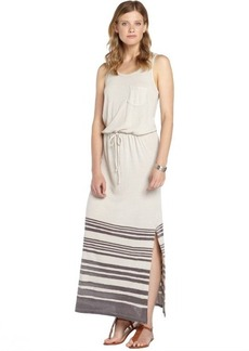 C & C California ivory and black stretch cotton blend striped sleeveless dress