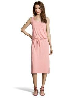 C & C California living coral stretch knit crisscross back drawstring waist dress