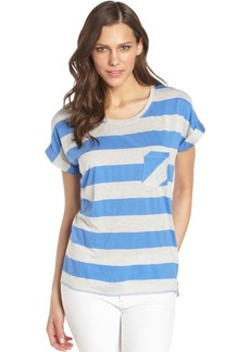 C & C California marine and grey striped cotton blend jersey boxy t-shirt