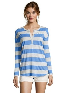 C & C California marine and oatmeal striped cotton blend henley