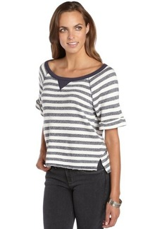 C & C California navy and ivory striped terry cropped sweater