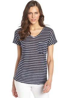 C & C California navy and white striped linen cuffed sleeve t-shirt