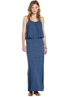 C & C California navy cotton blend popover spaghetti strap sleeveless maxi dress