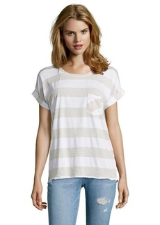 C & C California oatmeal and white striped cotton blend jersey boxy t-shirt