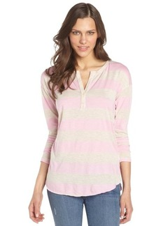 C & C California pink and oatmeal striped cotton blend henley