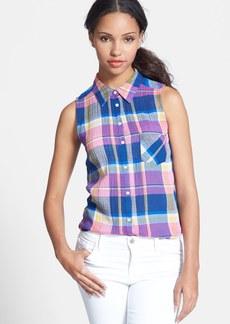 C & C California Sleeveless Plaid Stretch Cotton Shirt