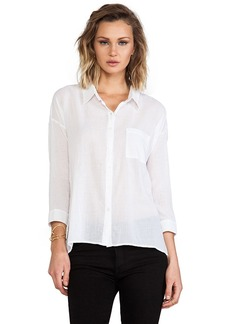 C&C California 3/4 Sleeve Voile Button Down in White