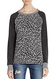 C&C California Colorblock Cheetah-Print Sweatshirt