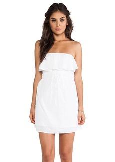 C&C California Diamond Eyelet Strapless Dress in White