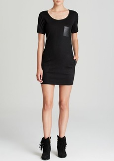 C&C California Dress - Ponte and Faux Leather