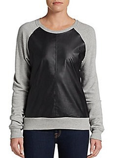 C&C California Faux Leather & French Terry Sweatshirt