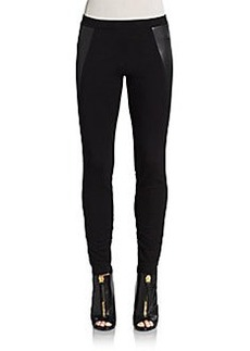 C&C California Faux Leather & Ponte Leggings