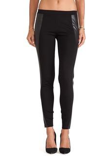 C&C California Faux Leather Detail Leggings in Black