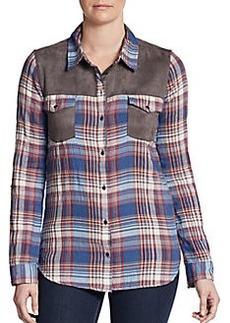 C&C California Faux Suede Yoke Plaid Shirt