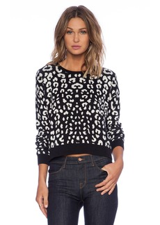 C&C California Leopard Jacquard Crop Sweater