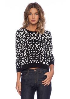 C&C California Leopard Jacquard Crop Sweater