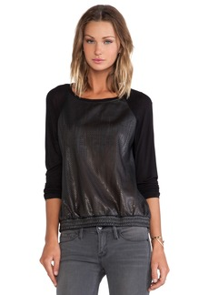 C&C California Perforated Faux Leather Sweatshirt