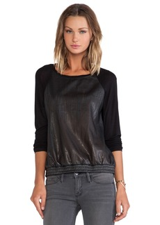 C&C California Perforated Faux Leather Sweatshirt in Black