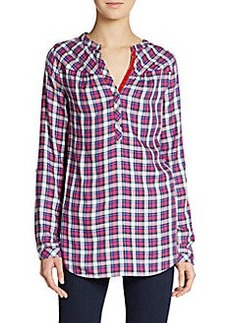 C&C California Plaid Roll-Sleeve Popover Shirt